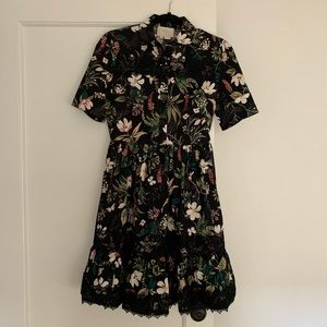 kate spade black floral shirtdress sz 0